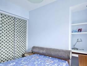 现代风格小卧室浅蓝色背景墙装修图片