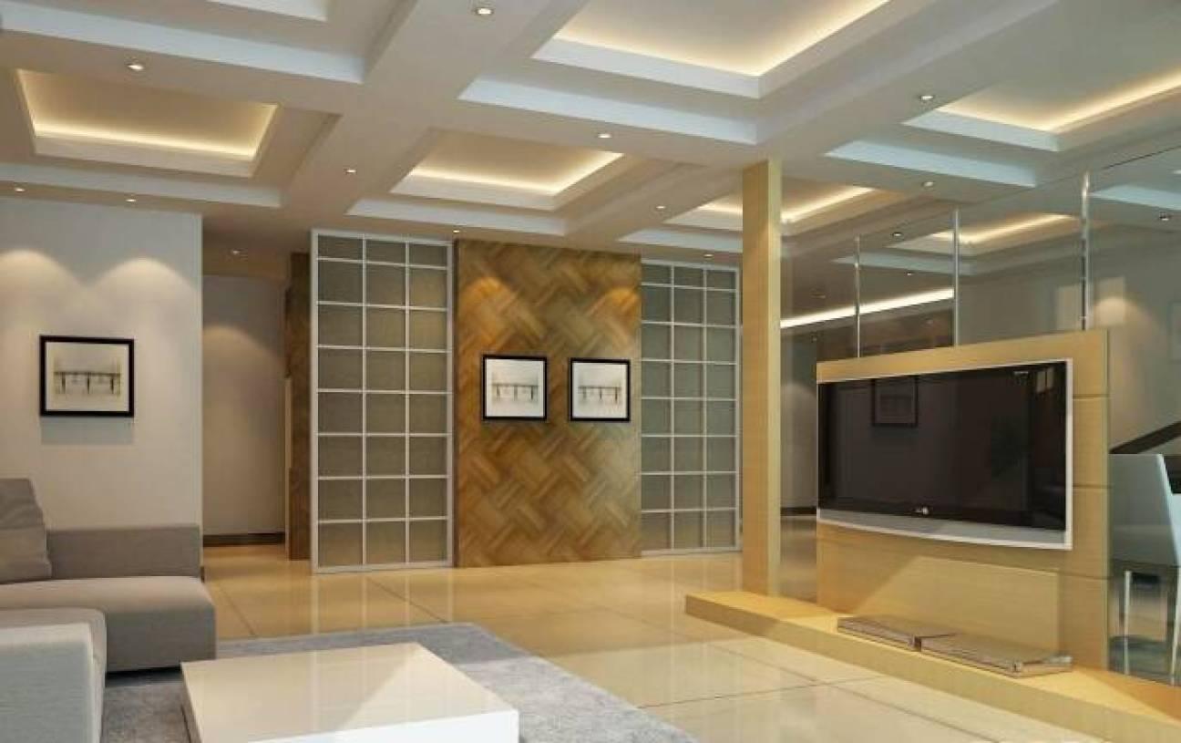 简约风格客厅电视墙隔断装修效果图-简约风格茶几图片