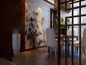 简约中式风格餐厅背景墙装修图片-简约中式风格吊灯图片