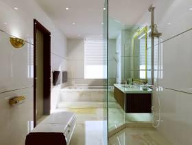 114㎡三居室现代简约风格卫生间玻璃隔断装修效果图-现代简约风格淋浴花洒图片