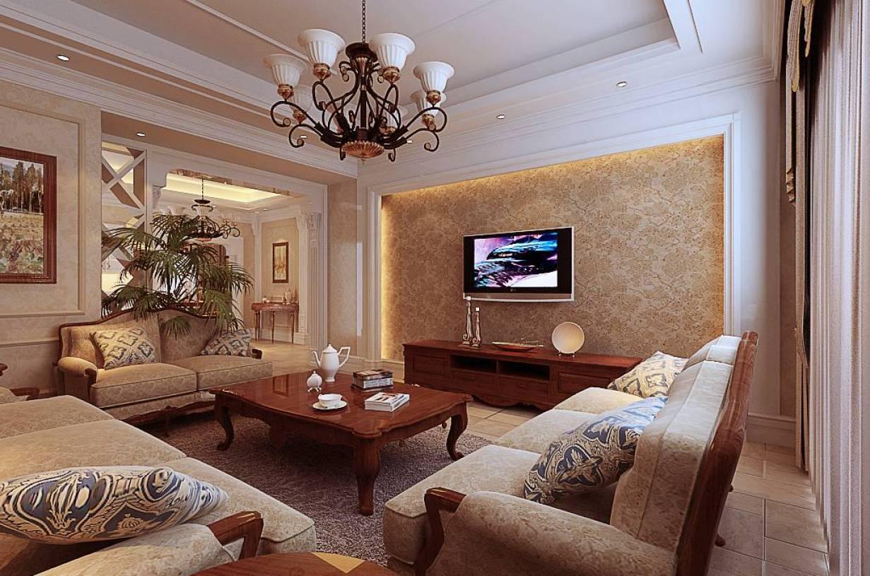 两厅两卫欧式简约风格客厅电视背景墙装修效果图,欧式简约电视柜图片