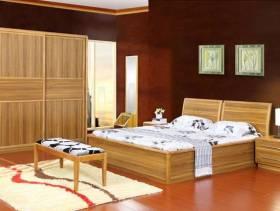 中式风格卧室杨木收纳床头柜图片