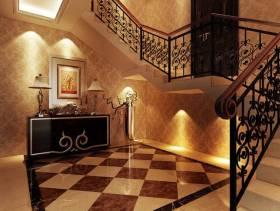 欧式风格客厅复式楼梯装修效果图-欧式风格装饰柜图片