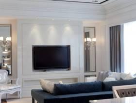 简约欧式风格客厅电视背景墙装修效果图-简约欧式风格椅凳图片