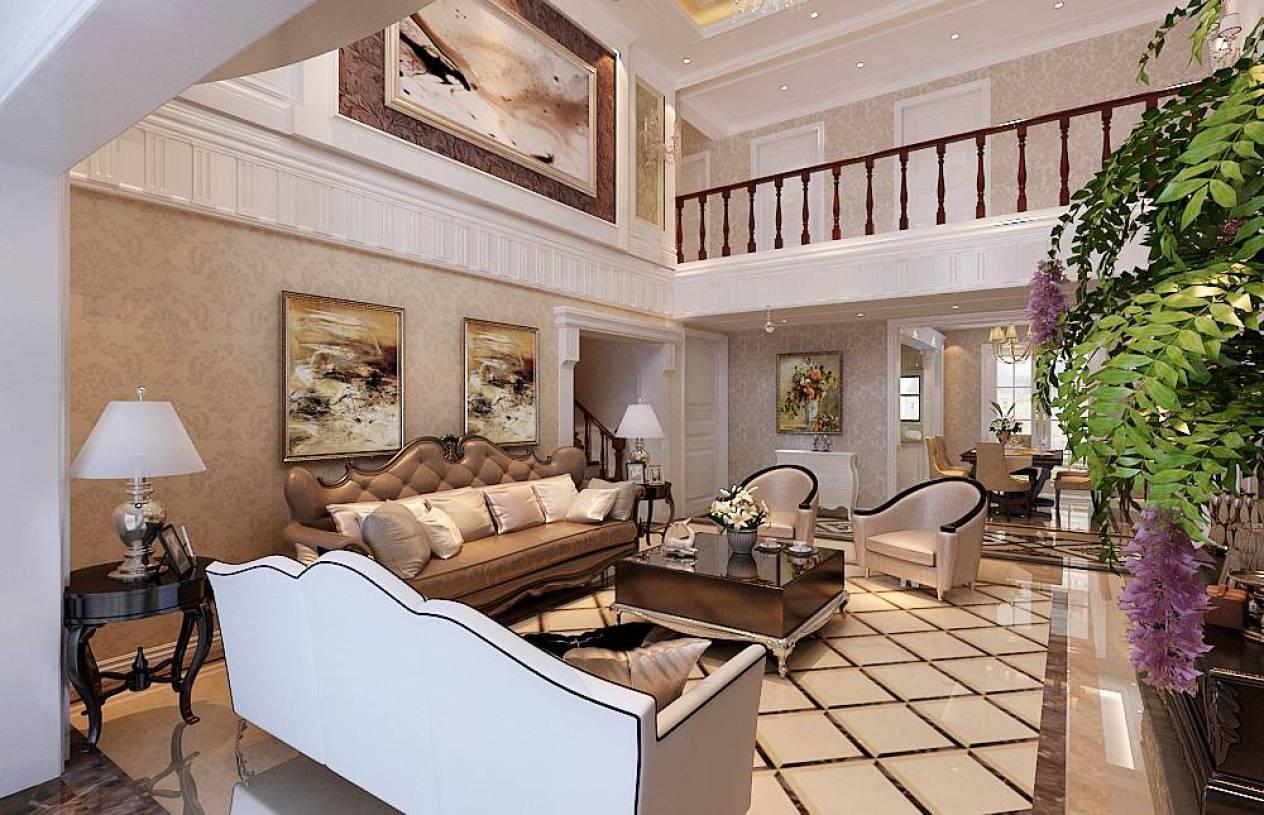 420㎡简欧风格别墅客厅背景墙装修效果图-简欧风格沙发图片图片