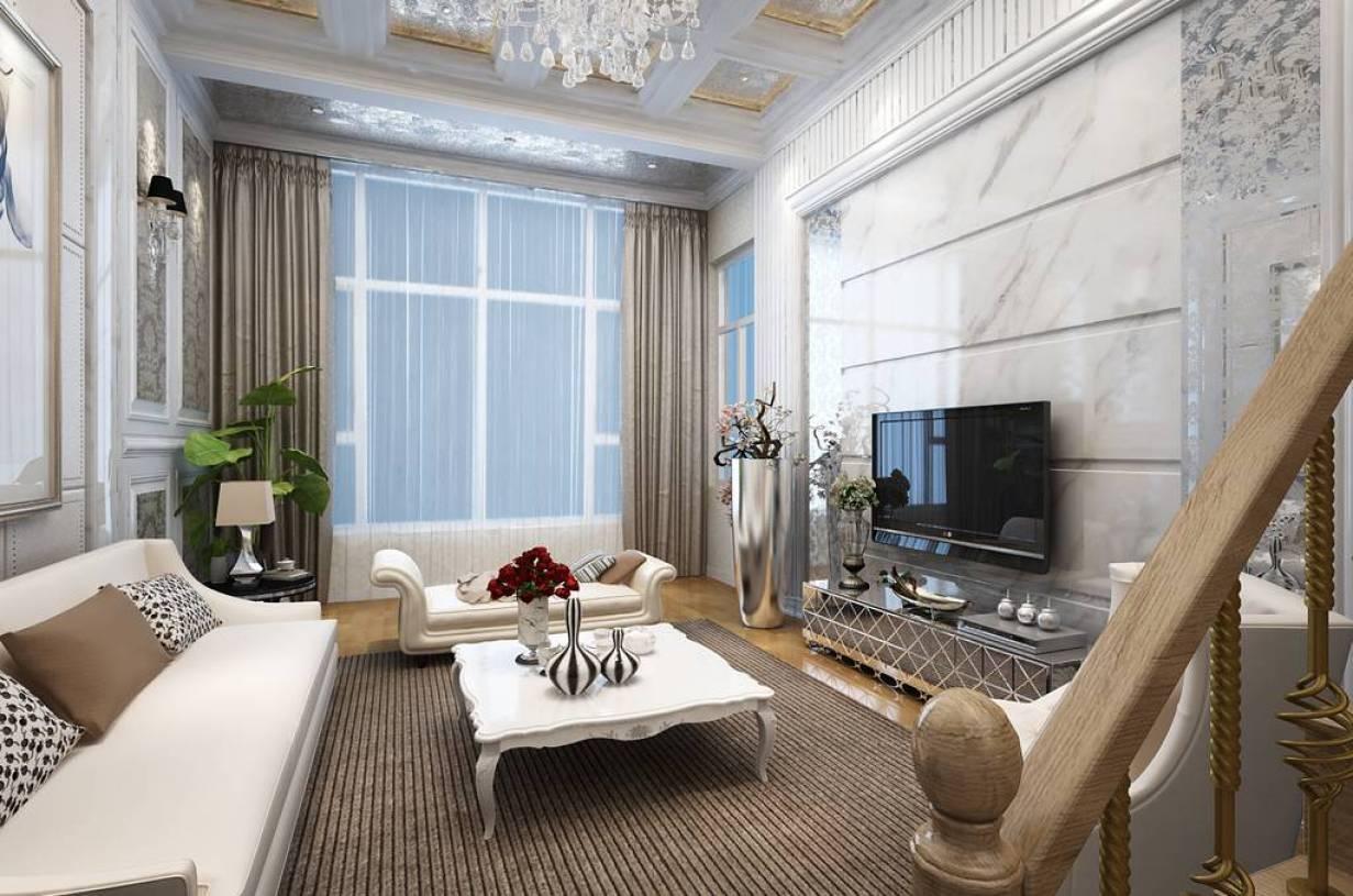 170m复式楼简约欧式客厅电视背景墙装修效果图-简约欧式电视柜图片图片