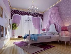 欧式风格女生卧室背景墙装修效果图-欧式风格床头柜图片