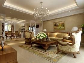 121㎡三居欧式风格客厅吊顶装修效果图-欧式风格茶几图片