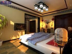 中式风格卧室电视背景墙实拍