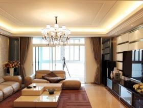 128㎡三居室现代风格客厅吊顶装修效果图-现代风格吊灯图片
