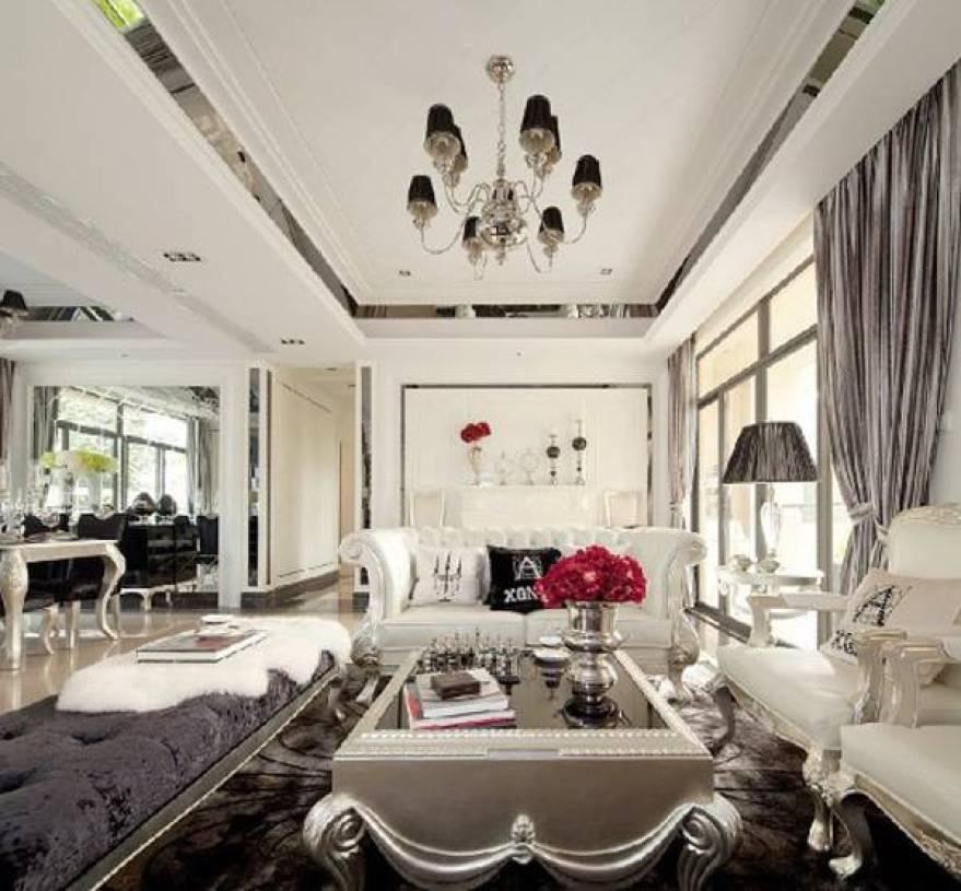 欧式风格客厅天花吊顶装修效果图-欧式风格沙发图片图片