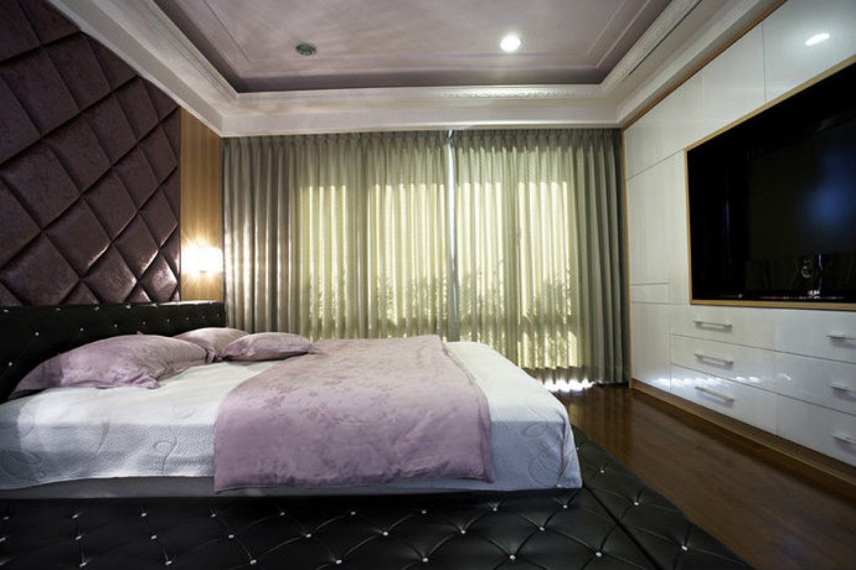 66平现代单身公寓卧室背景墙装修效果图