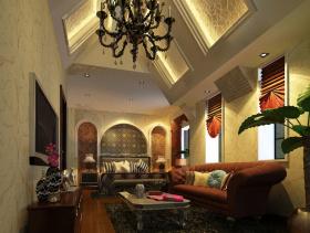 美式风格卧室背景墙装修效果图-美式风格双人床图片