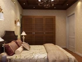 小卧室棕色实木衣柜图片