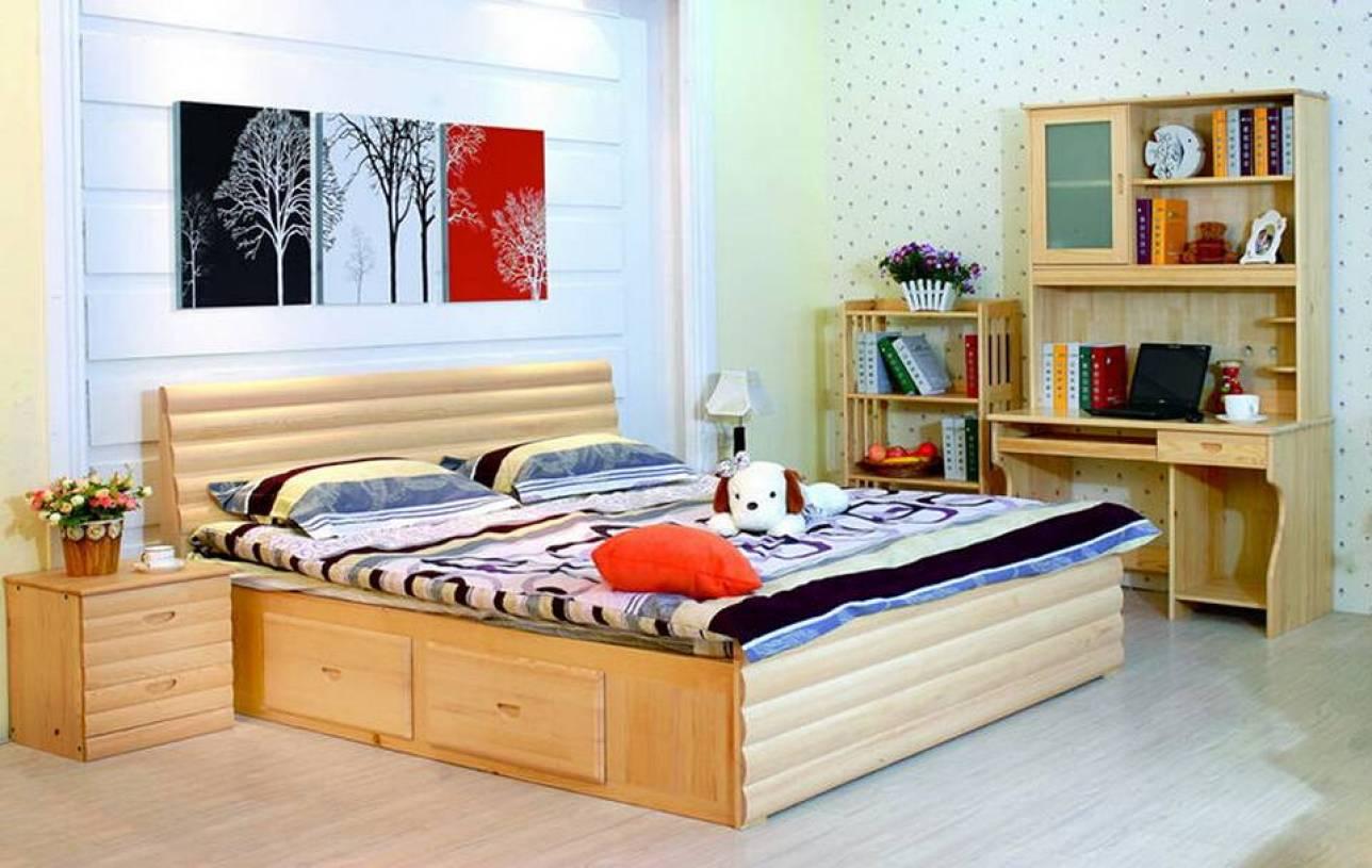 简约风格卧室背景墙装修效果图-简约风格贵人缘松木家具图片