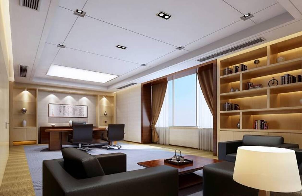 现代风格董事长办公室吊顶装修效果图-现代风格书柜图片