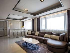 开放式大空间客厅真皮沙发图片
