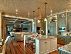 欧式风格开放式厨房铝扣板吊顶装修效果图-欧式风格橱柜图片