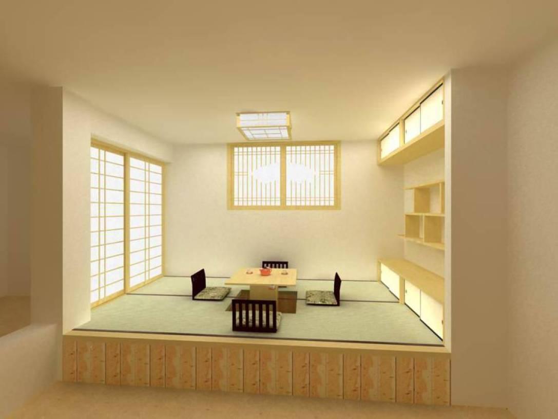 80㎡小户型日式风格茶室榻榻米地台装修效果图-日式风格茶几图片
