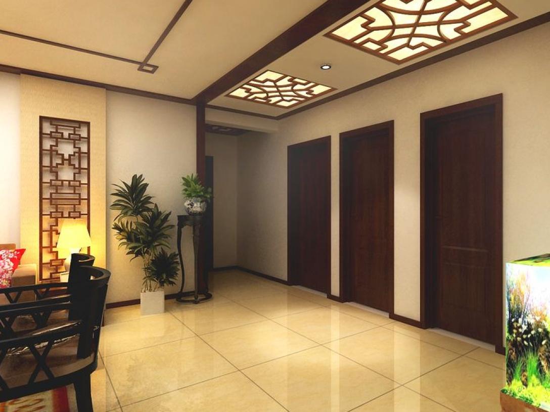 180㎡三居室新中式风格过道吊顶装修效果图-新中式风格花架图片