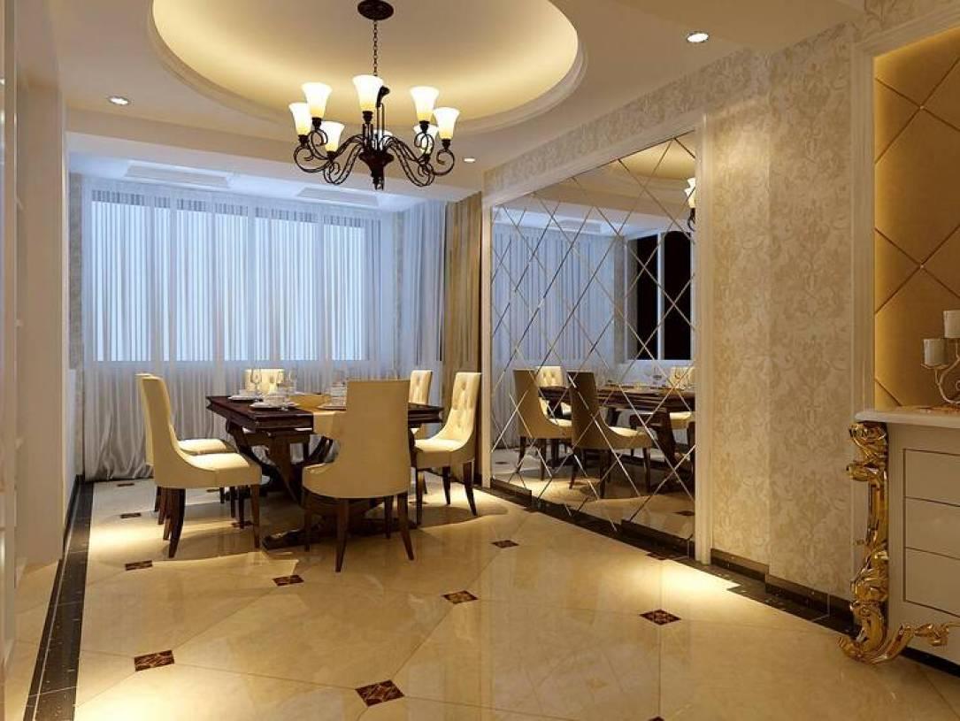 菱镜欧式风格餐厅背景墙装修效果图