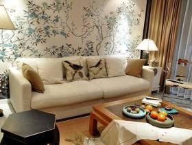 118㎡新中式风格客厅沙发背景墙装修图片-新中式风格茶几图片