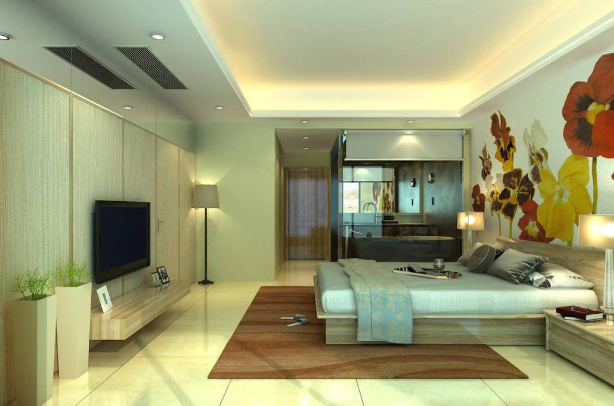 现代简约风格卧室床头手绘墙装修效果图,现代卧室桦木