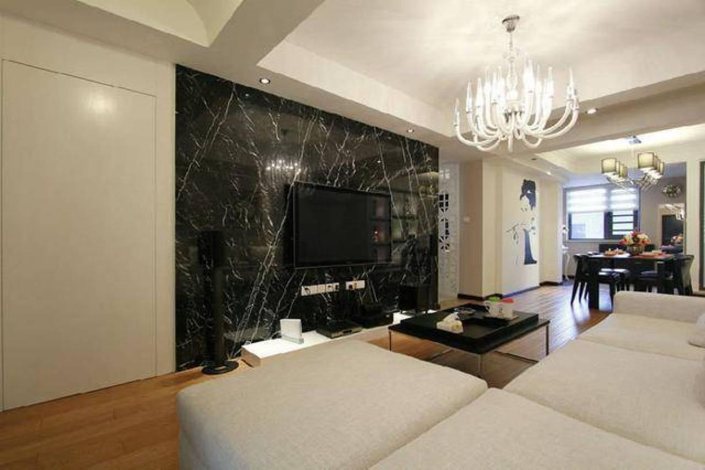 客厅黑色大理石电视背景墙装修图片