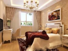 温馨浅黄卧室背景墙纸装修效果图