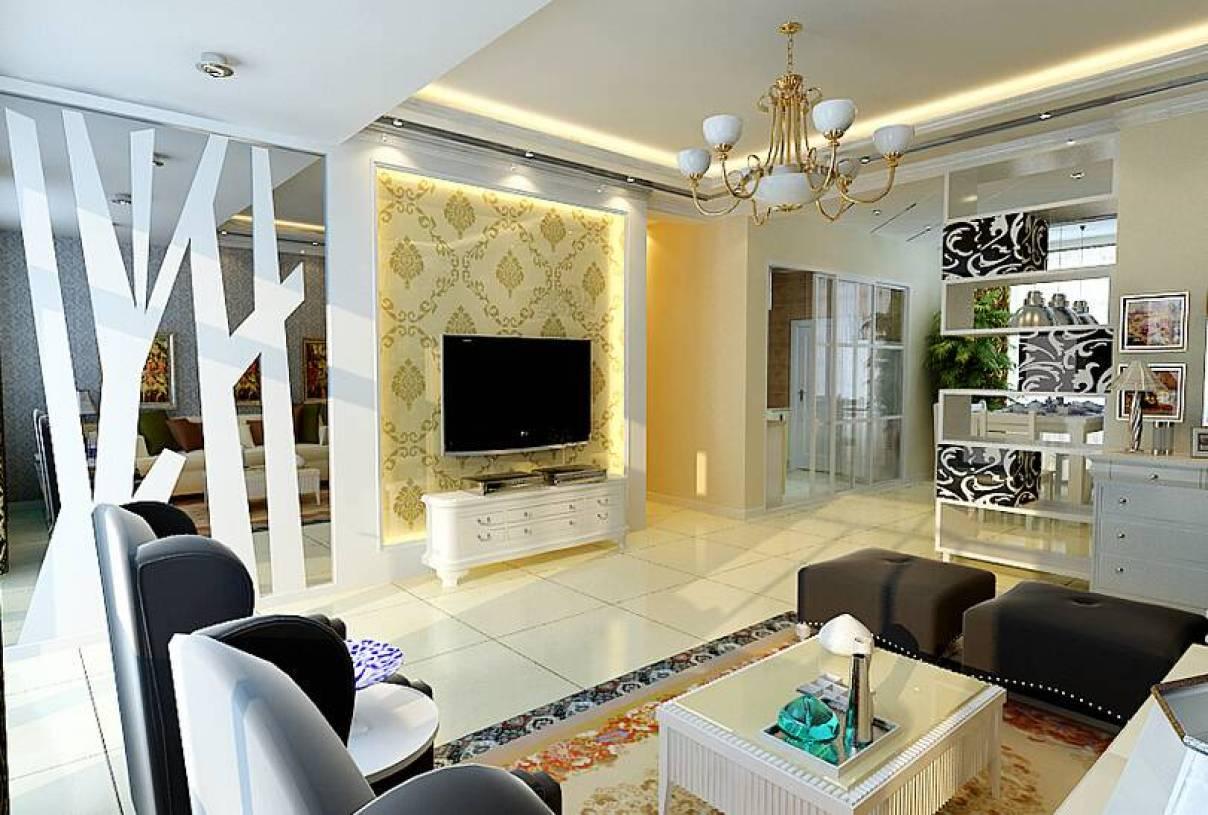 现代风格客厅电视墙隔断装修效果图-现代风格电视柜图片