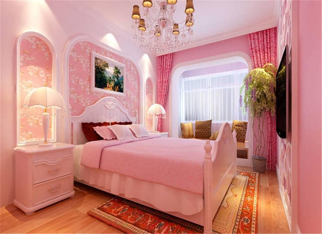 主卧室粉色床头背景墙装修效果图