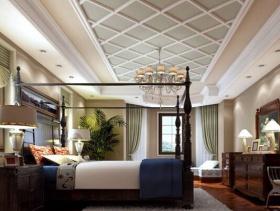 美式风格卧室吊顶装修效果图-美式风格吊灯图片