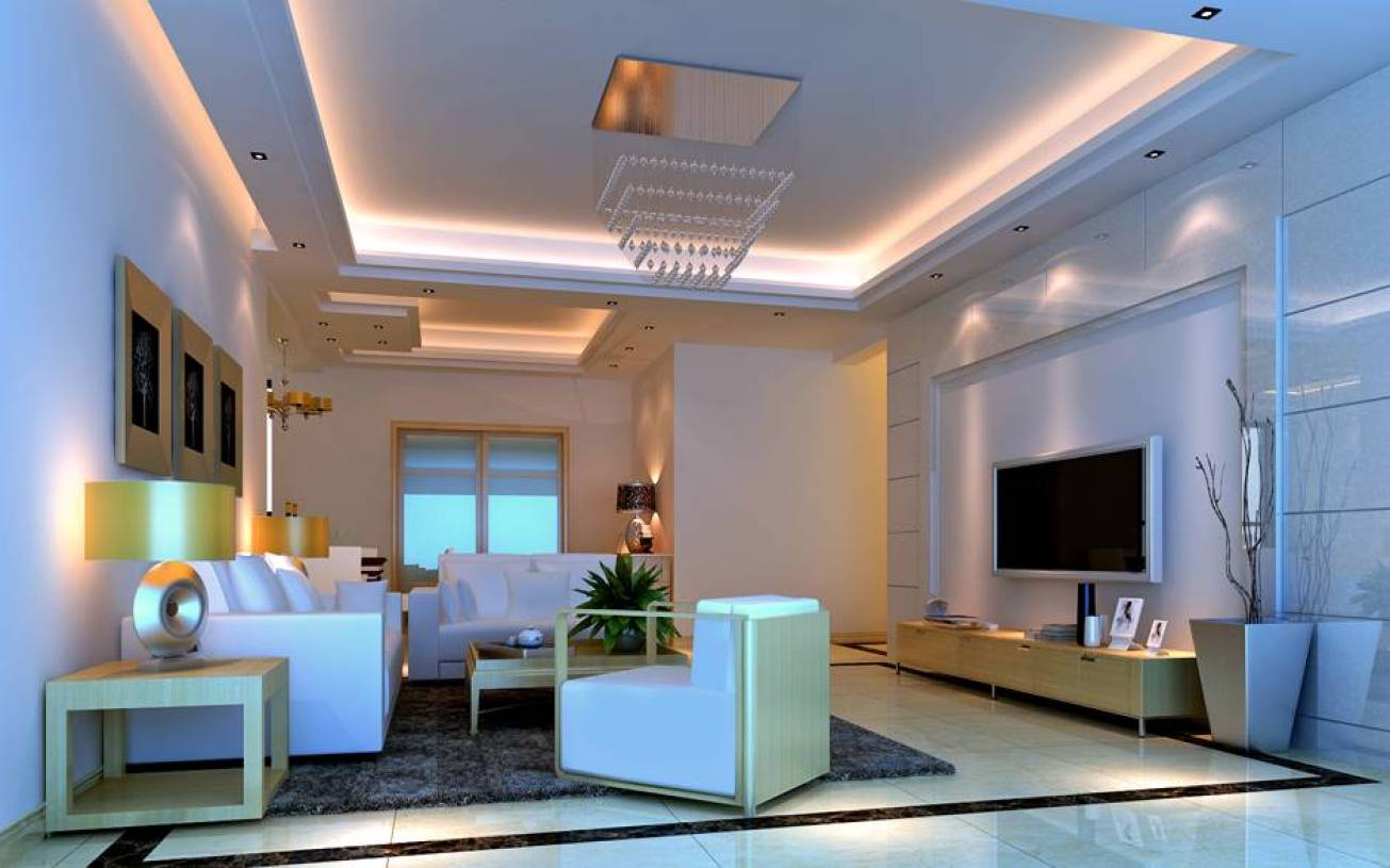 现代简约风格客厅吊顶装修效果图-现代简约风格边几图片