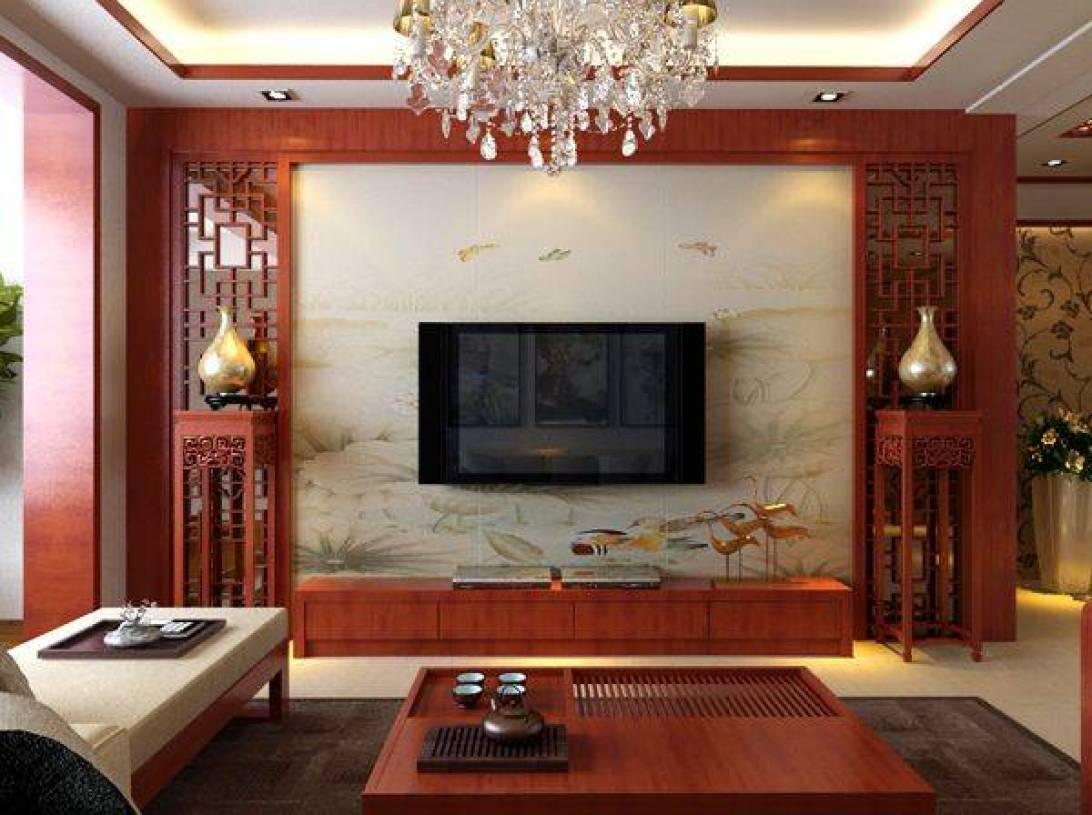 新中式风格客厅电视背景墙装修效果图,新中式风格电视柜图片