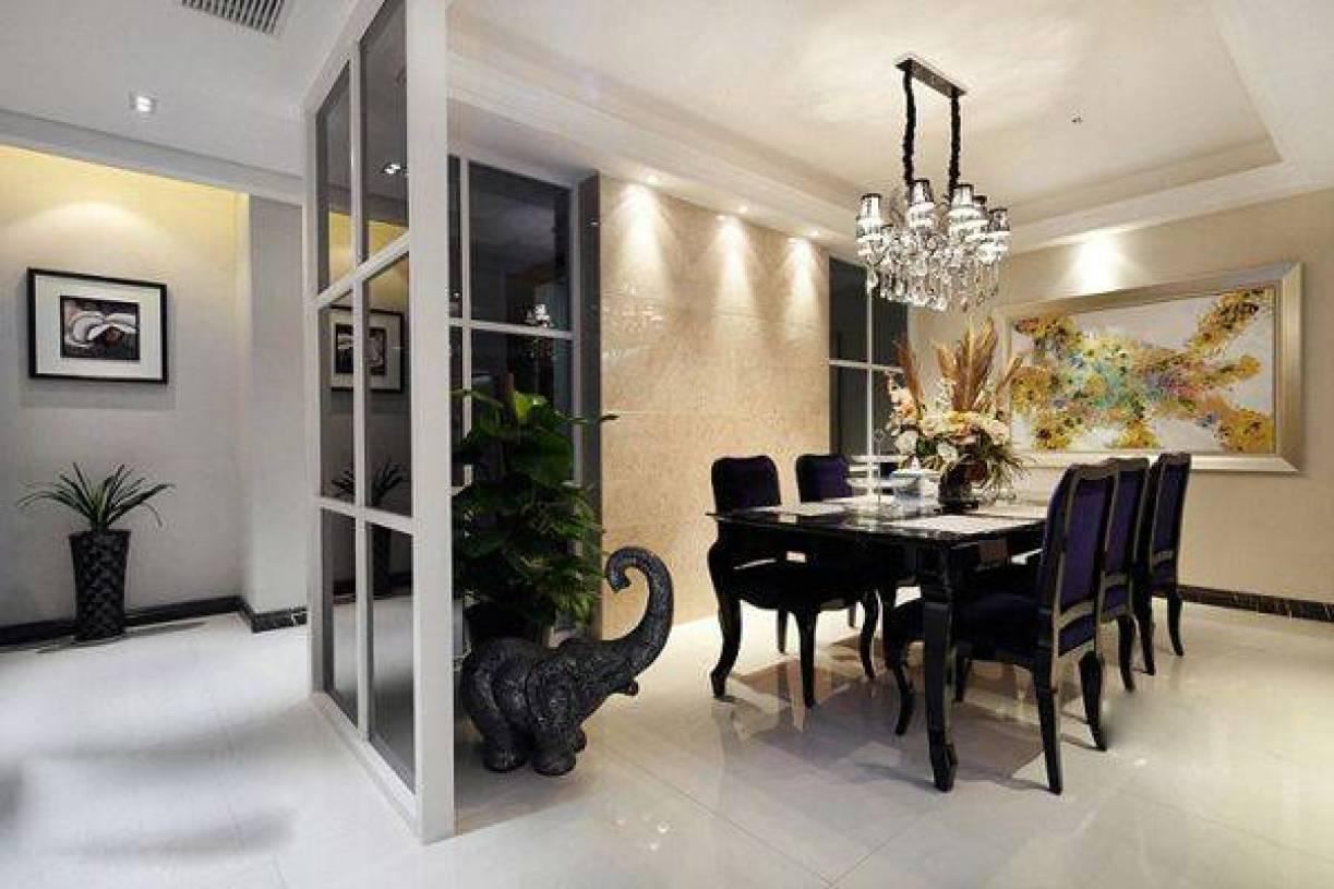 简约欧式风格餐厅背景墙装修效果图-简约欧式风格餐桌