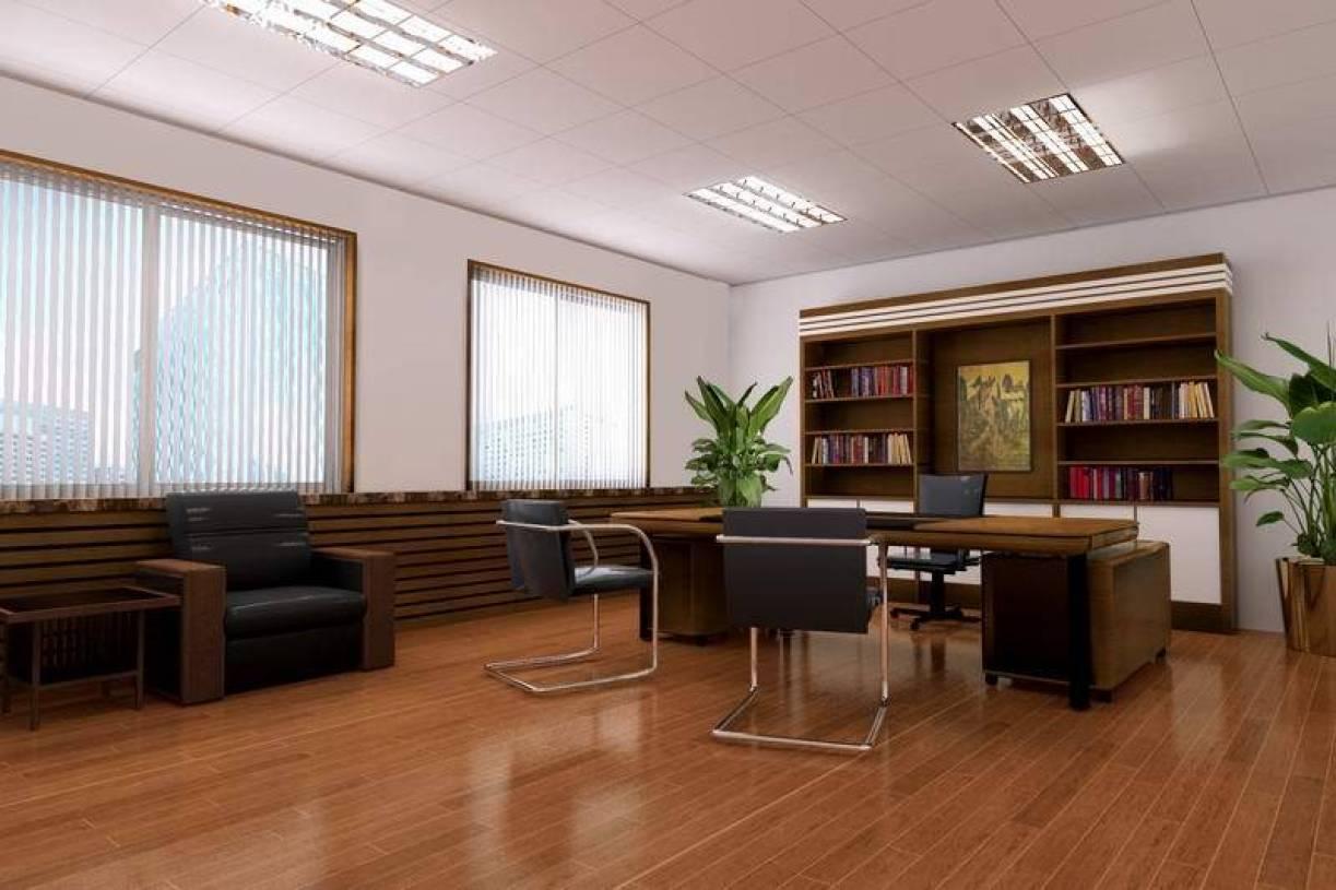 现代风格办公室矿棉板吊顶装修图片-现代风格书柜图片