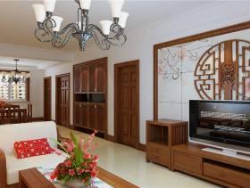 150㎡三居室中式风格客厅电视背景墙装修效果图-中式风格电视柜图片