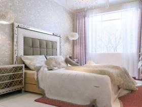 欧式风格二居室卧室背景墙效果图,欧式风格窗帘图片
