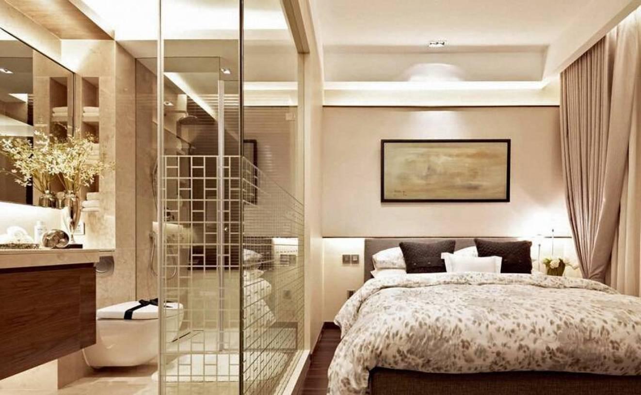 现代简约风格卧室与卫生间隔断装修效果图-现代简约风格床图片