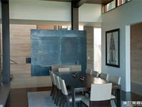 现代简约风格别墅餐厅隔断装修图片-现代简约风格实木餐桌图片