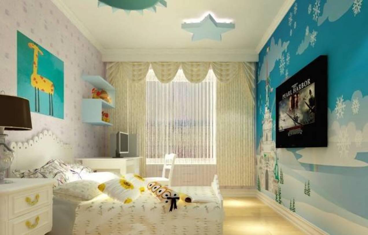 30㎡简欧风格儿童房吊顶装修效果图-简欧风格实木床图片
