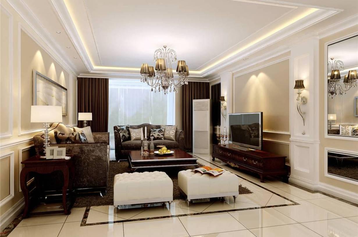 现代风格大户型客厅电视墙装修效果图,现代吊顶沙发图片