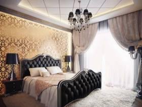欧式风格别墅主卧室吊顶装修效果图,欧式风格窗帘图片