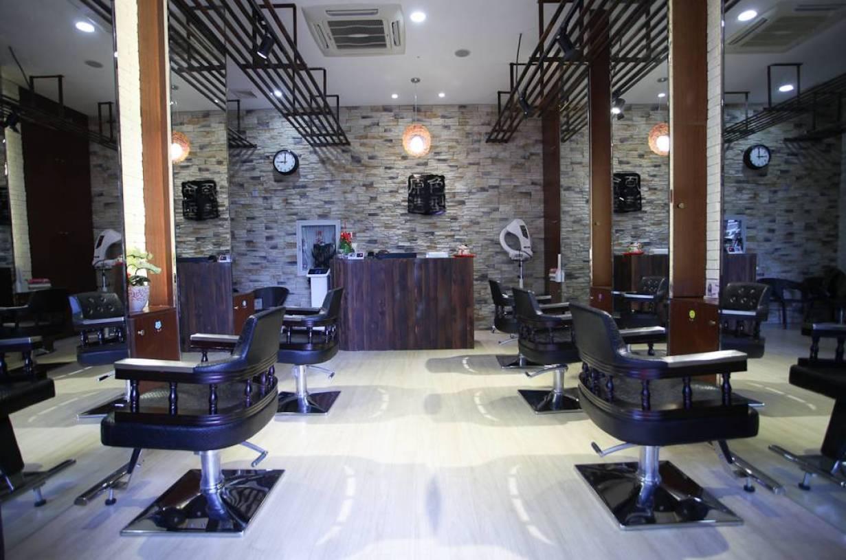现代风格美发店吊顶装修图片,现代风格收银台图片图片