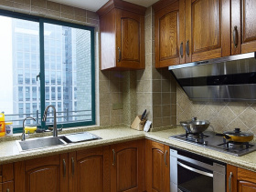 美式风格厨房装修效果图-美式风格橱柜图片