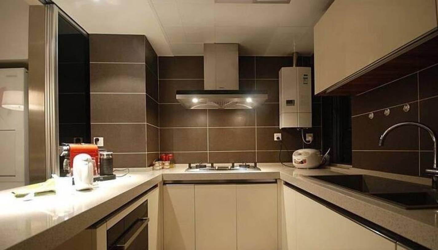 现代简约风格小户型公寓开放式厨房装修图片-现代简约