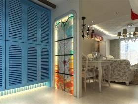 140㎡3室2厅1厨2卫地中海风格风格过道彩色玻璃隔断装修效果图-地中海风格储物柜图片