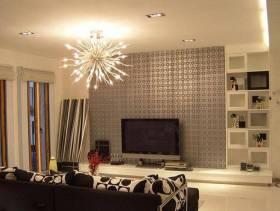 现代简约风格客厅电视背景墙装修效果图-现代简约风格置物台图片