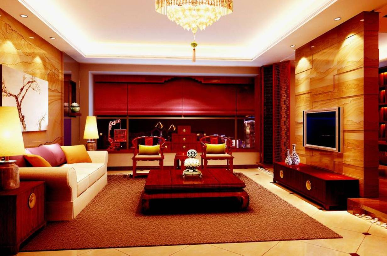 红色客厅中式装修大理石电视墙效果图