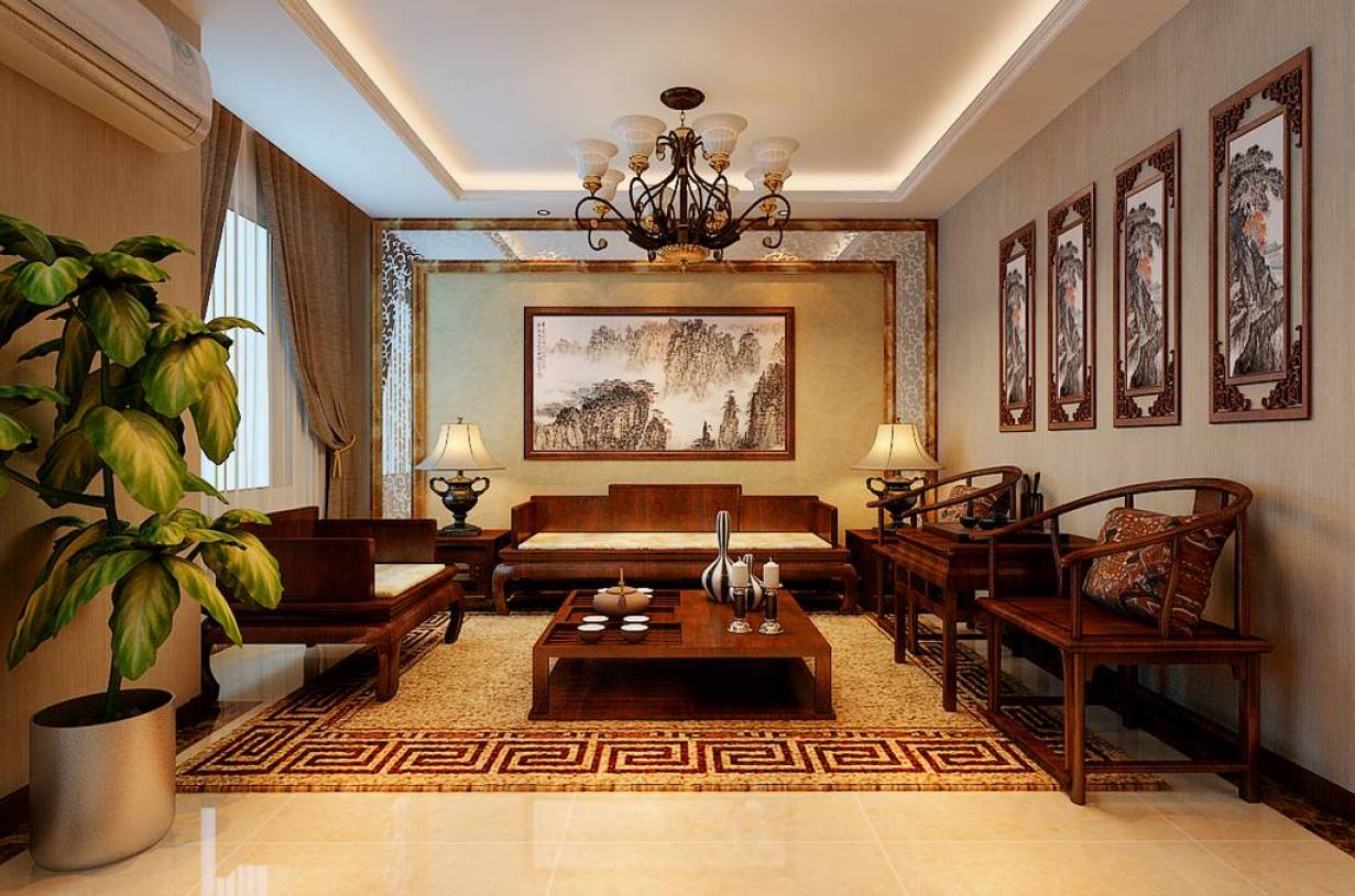 新中式风格复式客厅沙发背景墙效果图,新中式风格吊顶